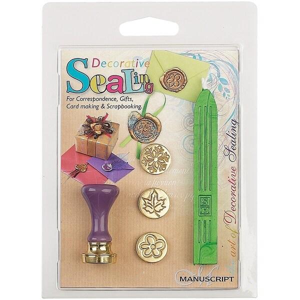Decorative 3 Coin Sealing Set W/Green Wax-Flower, Leaf & Snowflake - Green