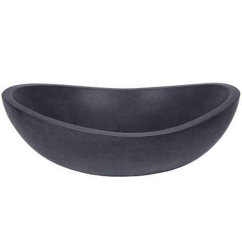 Eden Bath Stone Canoe Sink - Honed Lava Stone - Black
