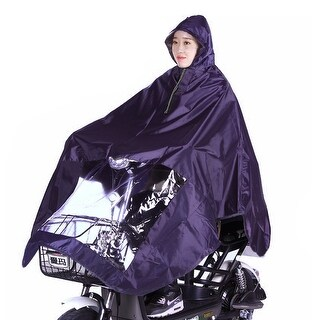 Purple Unisex Nylon Poncho Motorcycle Raincoat Hooded Waterproof Coat Cover