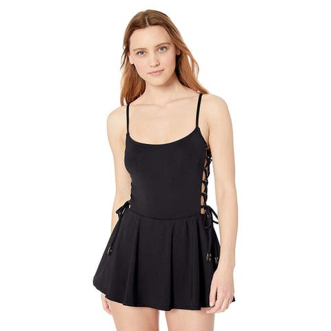 Anne Cole Studio Women's Lace Up Sexy Swimdress, New Black,, New Black, Size 8.0 - 8