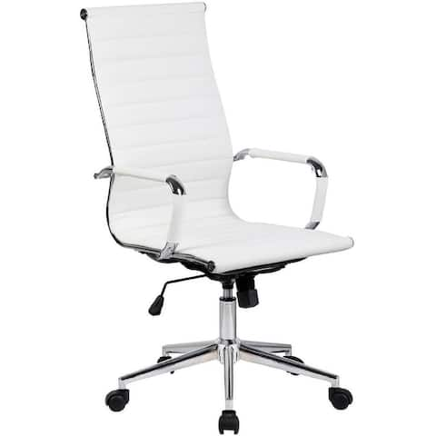 White Executive Ergonomic High Back Modern Office Chair Ribbed PU Leather Swivel for Manager Conference Computer Desk