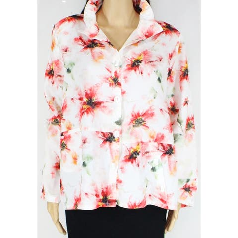 Trisha Tyler Womens Jacket White Pink 1X Plus Floral Button Wire-Collar