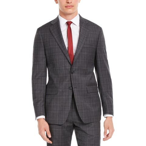 Calvin Klein Mens Suit Jacket Wool Blend Plaid - Grey/Burgundy
