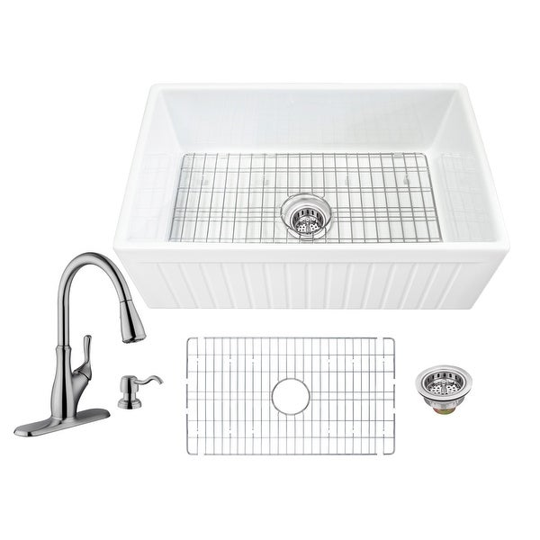 Soleil All-In-One Apron Front Fluted/Plain Reversible Fireclay Single Bowl Kitchen Sink with Pull Out Faucet. Opens flyout.