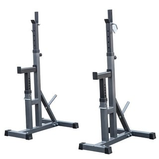 Akonza 2pcs Bench Press Stands Peg Rack Adjustable Independent Weight Lifting with Spotter