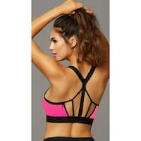 Stow And Go Hot Pink Sports Bra, Pink And Black Cage Sports Bra - Hot Pink