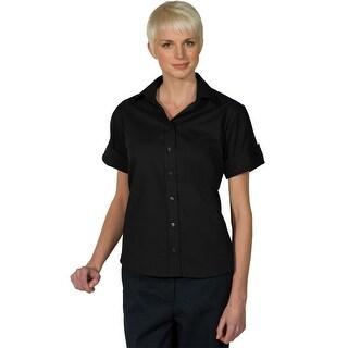 Women's Open Neck Poplin Short Sleeve Blouse