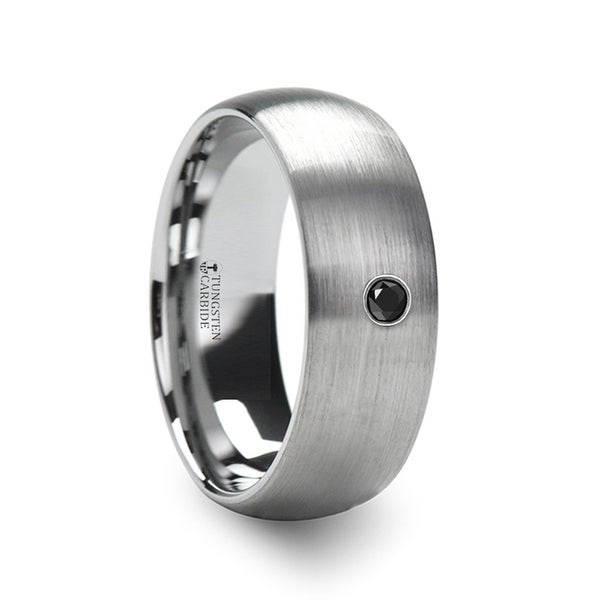 THORSTEN - PERSEID Tungsten Carbide Brushed Finish Domed Ring with Black Diamond