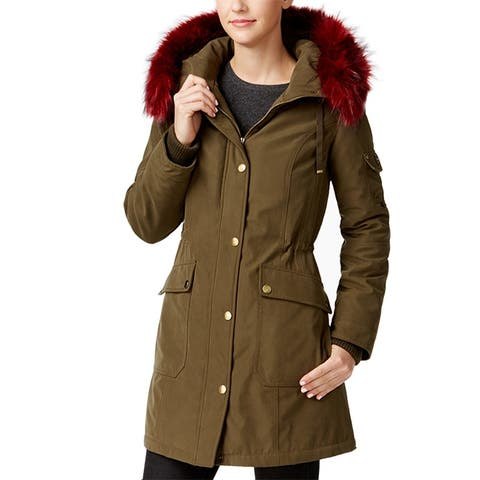 1 Madison Expedition Asiatic Raccoon-Fur-Trim Parka Olive Magenta Down C