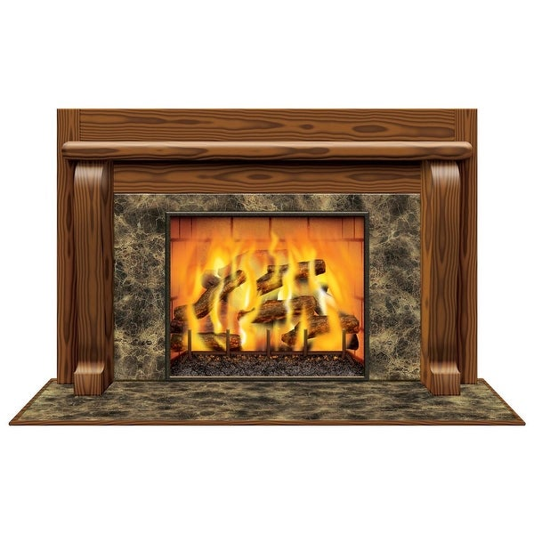 "Pack of 6 Winter Fireplace Insta-View Christmas Wall Decorations 38"" x 62"""