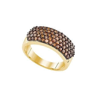 10kt Yellow Gold Womens Round Cognac-brown Colored Diamond Cocktail Fashion Ring 1.00 Cttw - Brown