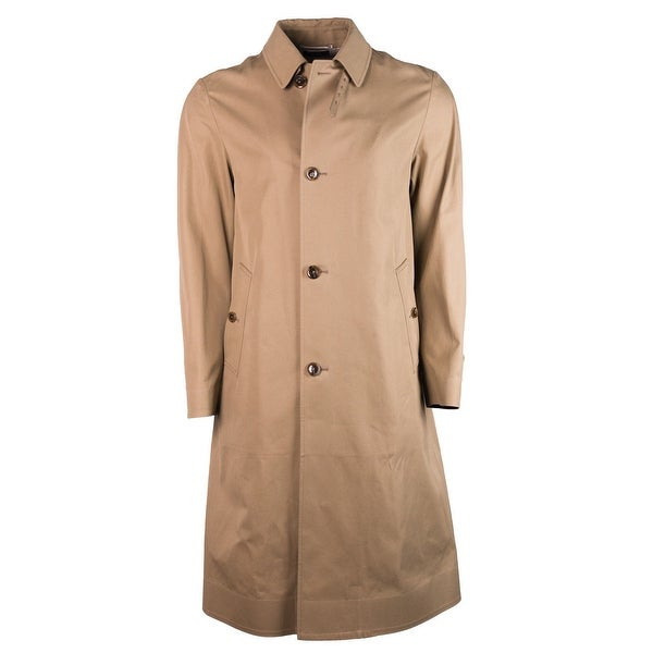 Tom Ford Tan Brown Long Cotton Belt Collared Trench Rain Coat - M