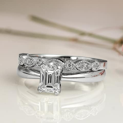 Auriya 14k Gold 1ctw Vintage Emerald-cut Solitaire Diamond Engagement Ring Set