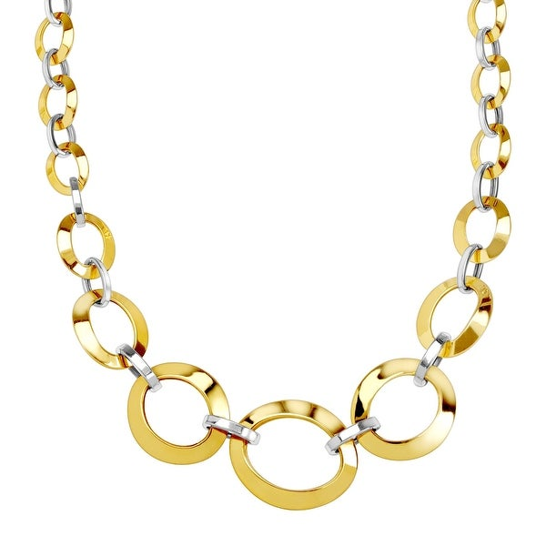 """Just Gold Graduated Oval Link Chain Necklace in 14K Two-Tone Gold, 20"""""""