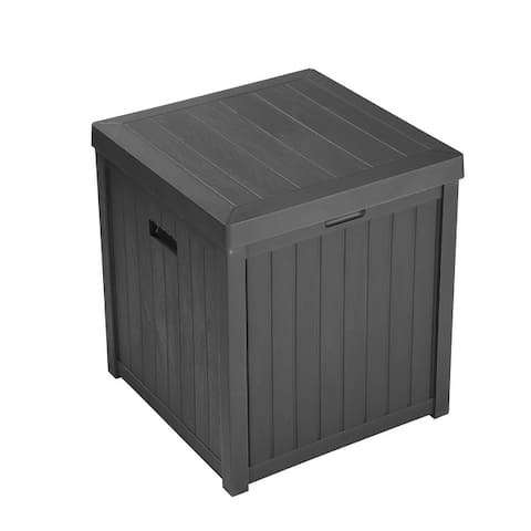 Zenova 52-Gallon Small Deck Box Outdoor Storage Container and Seat for Patio Cushions and Gardening Tools - 52