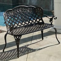 Belleze Outdoor Aluminum Cast Garden Bench Backyard Antique Patio Porch Furniture, Bronze