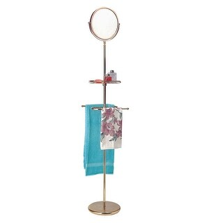 Victorian Vintage Brass Free Standing Reversible Mirror with Shelf Towel Rack