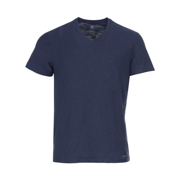Calvin Klein Jeans Cotton Slub V-Neck T-Shirt Navy Blue Armada Tee Medium M