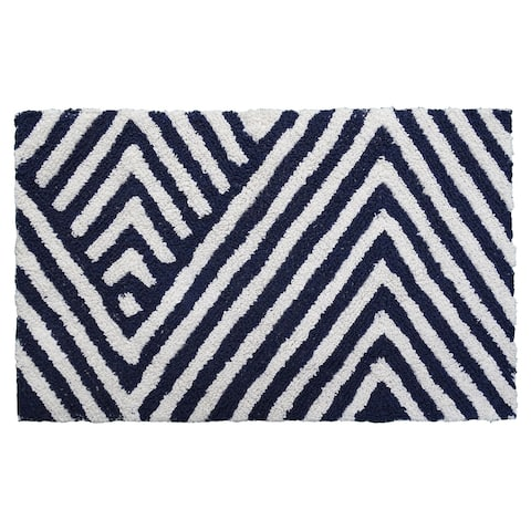 "CHICOS HOME Bath Rug Chevron Pattern in Charcoal & Ivory 20"" x 32"""