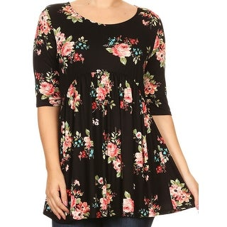 Women Plus Size Short Sleeve Rose Pattern Print Tunic Knit Top Tee Black Floral B492 FLO