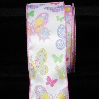 "Pink and Purple Butterfly with Pearled Edge Wired Craft Ribbon 2.5"" x 40 Yards"