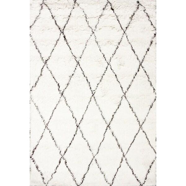 nuLOOM Handmade Moroccan Trellis Wool Shag Rug. Opens flyout.