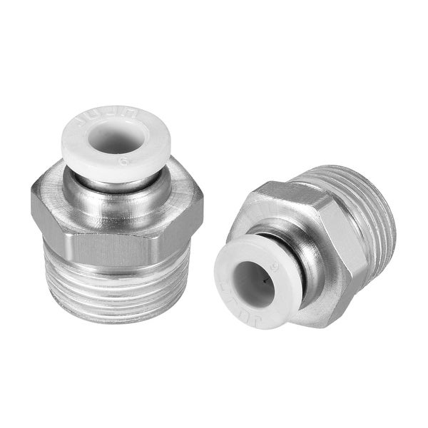 """3/8"""" G Male Thread 6mm Push In Joint Pneumatic Quick Fittings White 10 Pcs"""