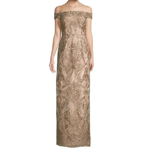 f8e32d50221 Aidan Mattox Beige Women Size 2 Off The Shoulded Sequined Lace Gown