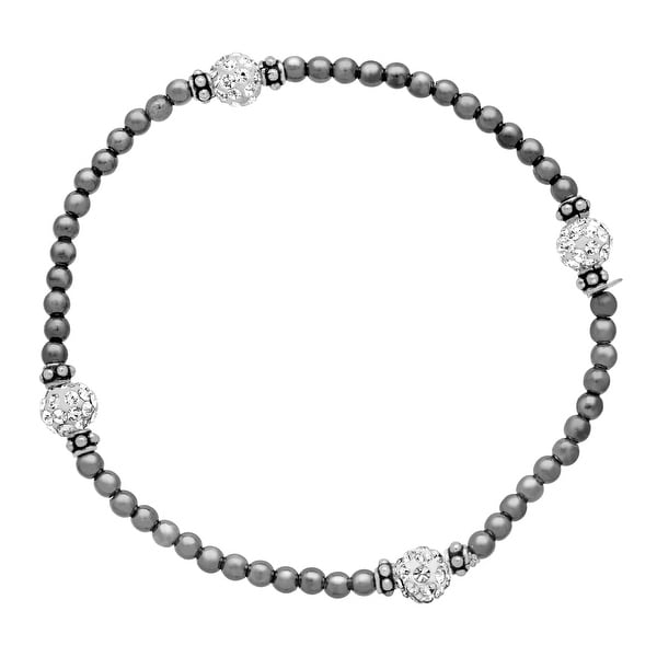 Crystaluxe Bead Bracelet with White Swarovski elements Crystals in Black Rhodium-Plated Sterling Silver