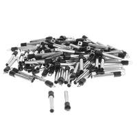 2mm x 0.6mm DC Power Jack Male Plug Connector Adapter Black Silver Tone 100pcs