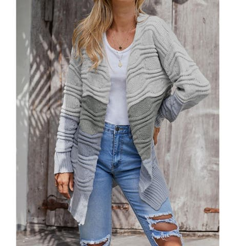 Womens Sweaters Open Front Cardigan Colorblock Long Sleeve Loose Knit Sweaters