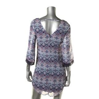 Speechless Womens Juniors Chiffon Crochet Trim Casual Dress