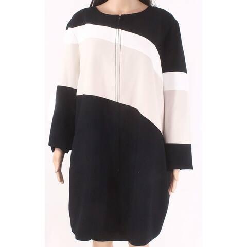 ALFANI Womens Black Color Block Jacket Size XL