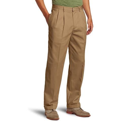 IZOD Mens Pants Beige Size 38x32 Cuffed Pleated American Chinos Khakis