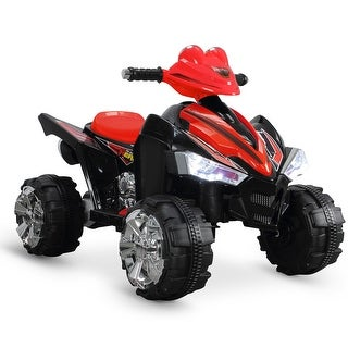 Kidzone Powered Electric 12V Ride On ATV Quad with Built in Music Horn and Led Light for Kid Toddlers (Red)