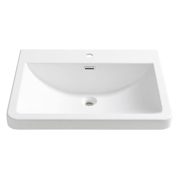 """Fresca FVS8525 Milano 25-1/2"""" Acrylic Drop In Vanity Top with an Integrated Sink, Single Faucet Hole and Overflow - White"""