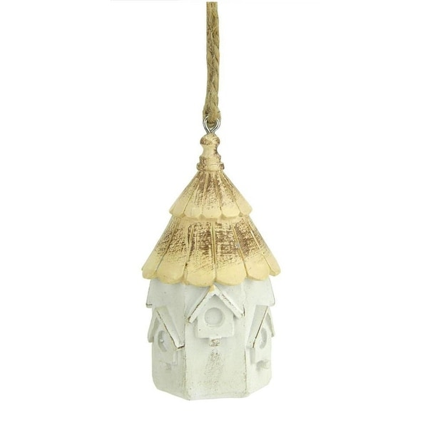 "3"" Distressed White and Tan Scalloped Shingle Roof Hexagonal Bird House Christmas Ornament"