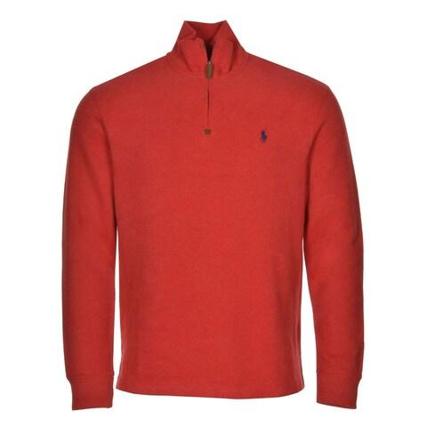 POLO RALPH LAUREN RL Sweatshirt Small S Light Red 1/4-Zip Mock Neck $98