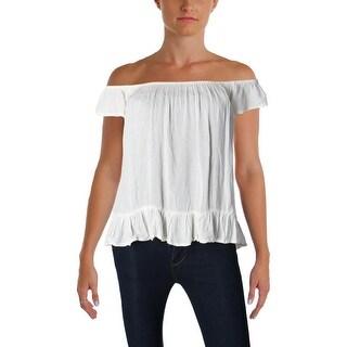 Denim & Supply Ralph Lauren Womens Casual Top Crinkled Off-The-Shoulder