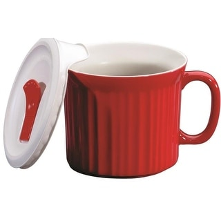 CorningWare 1105118 Pop-Ins Mug With Vented Plastic Cover, 20 OZ, Red