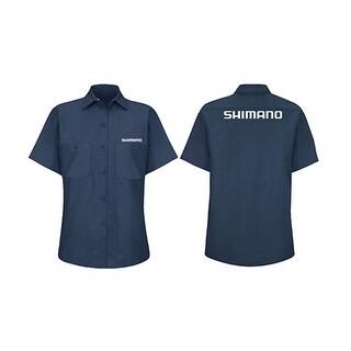 Shimano 2015 Women's Short Sleeve Shop Shirt - SHOPSHIRT-Women15 - shimano blue