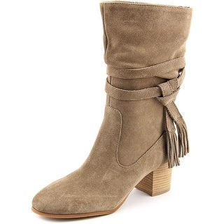 Tahari Johnny Women Round Toe Suede Nude Mid Calf Boot