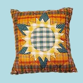 Cotton Pillow Yellow Multi Sunflower 16 Square