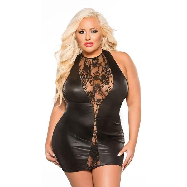 Shop Plus Size Vinyl And Lace Mini Dress Plus Size Black Lace Dress