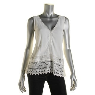 Lush Womens Lace Trim Double-V Casual Top - M
