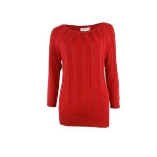 Joseph A Women's Pleated Shimmer Knit Sweater