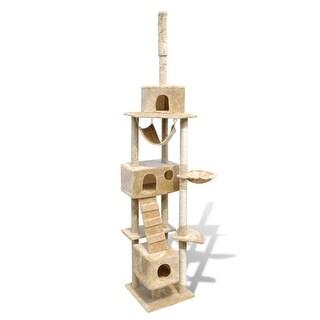 """vidaXL Cat Tree Scratching Post 87"""" - 94"""" 3 Condos Beige"""
