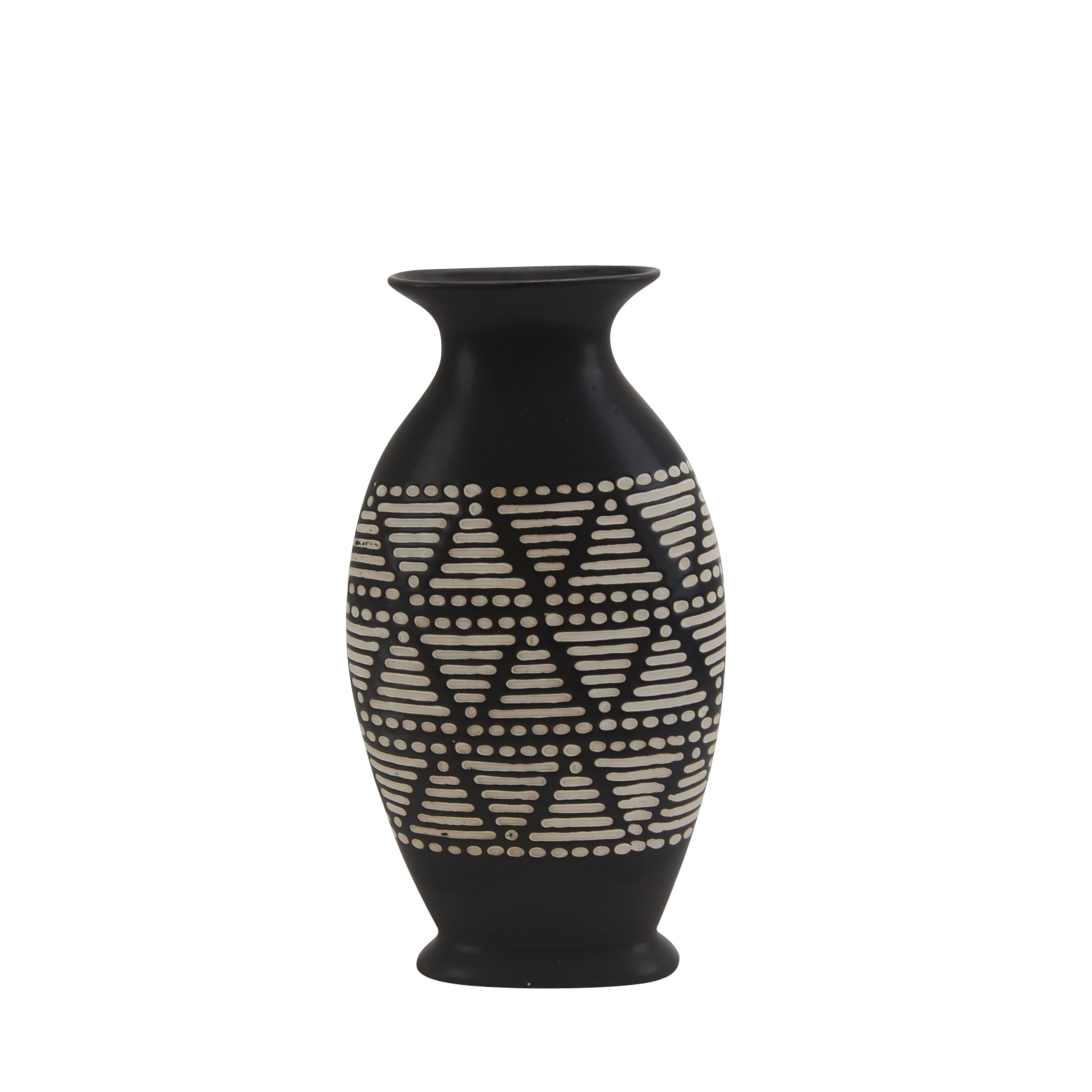 Urn Shape Ceramic Vase with Tribal Design, Black and White