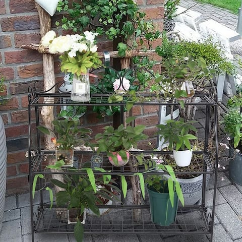 Modan Lace 3-tier Black Iron Plant Stand by Havenside Home