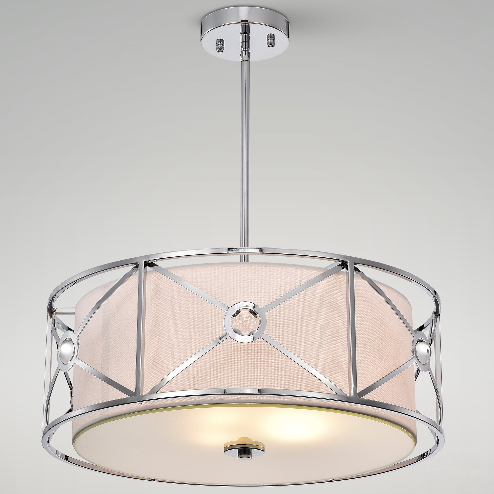Shop Black Friday Deals On Penni Chrome 3 Light Geometric Metal Fabric Crystal Drum Shade Chandelier On Sale Overstock 31722838